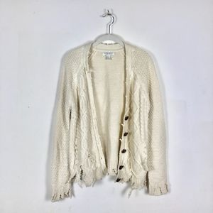 Forever 21 Sweaters - Distressed Ripped Hem Cable Knit Cream Cardigan